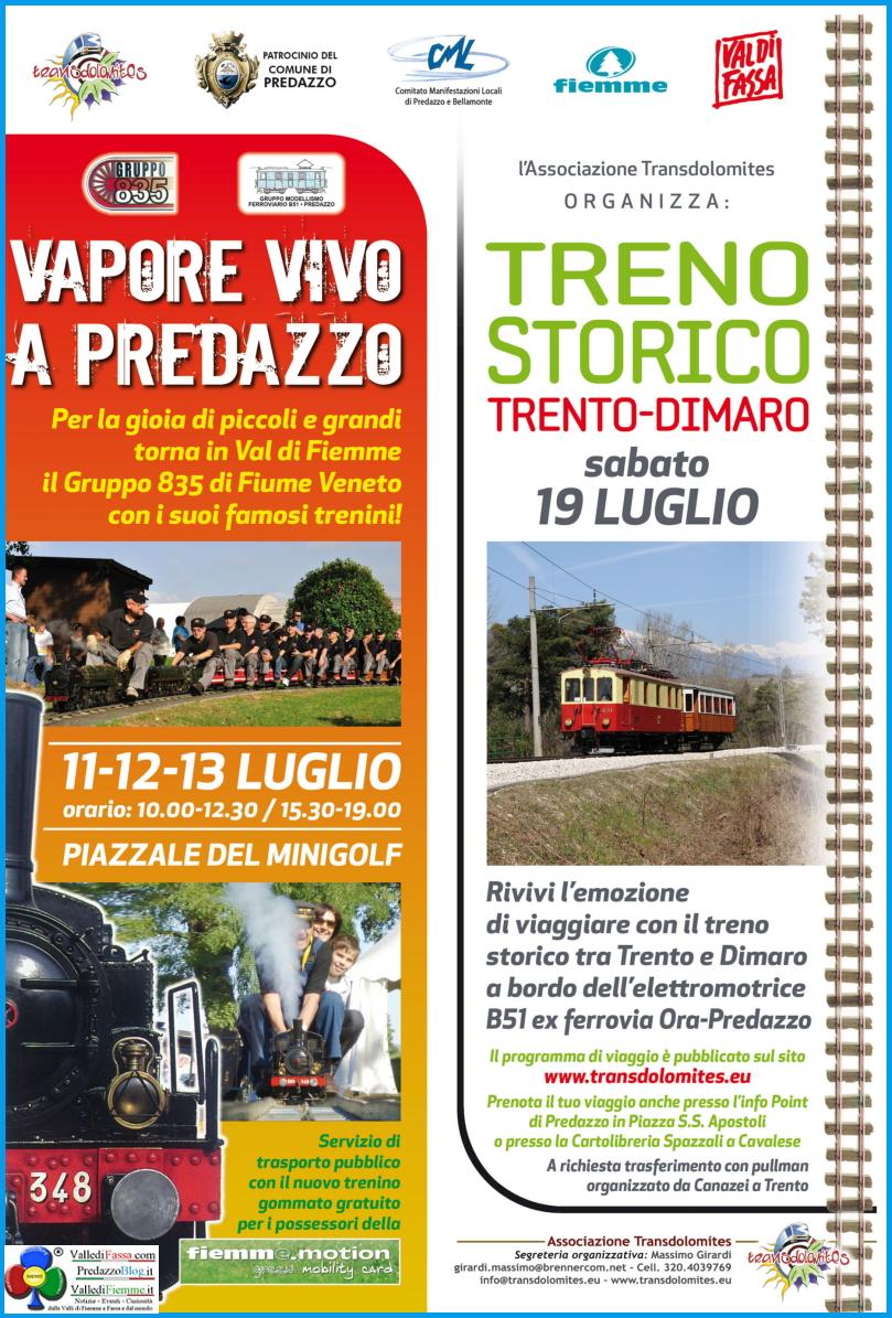 vapore vivo a predazzo Vapore Vivo a Predazzo e Treno Storico con Transdolomites