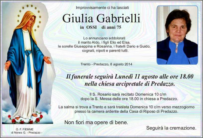 Gabrielli Giulia Predazzo, necrologio Giulia Gabrielli in Ossi