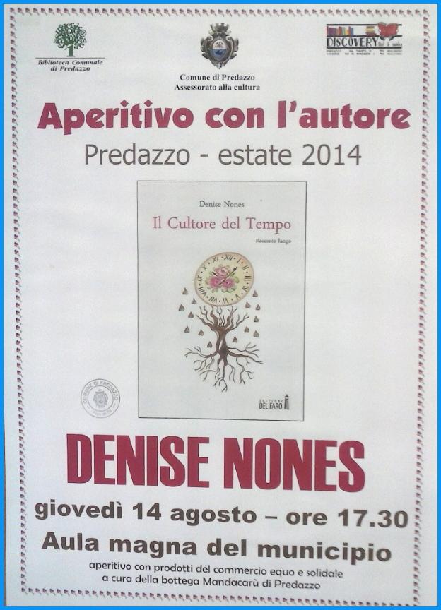 aperitivo con lautore denise nones predazzo Aperitivo con lautore, Denise Nones presenta Il Cultore del Tempo