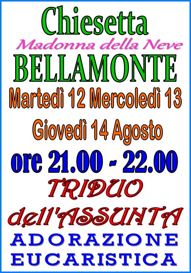 triduo assunta bellamonte Predazzo, avvisi della Parrocchia 10 17 agosto