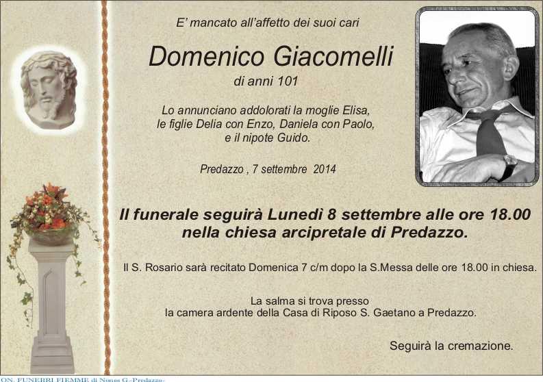 Giacomelli Domenico Predazzo, avvisi della Parrocchia 7 14 settembre