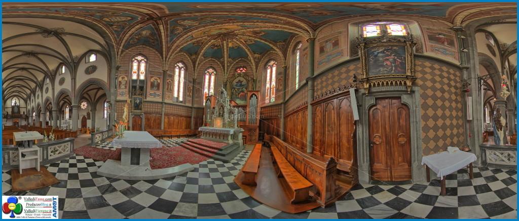 chiesa predazzo interno 360° presbiterio predazzo blog 1024x436 Le Chiese di Predazzo