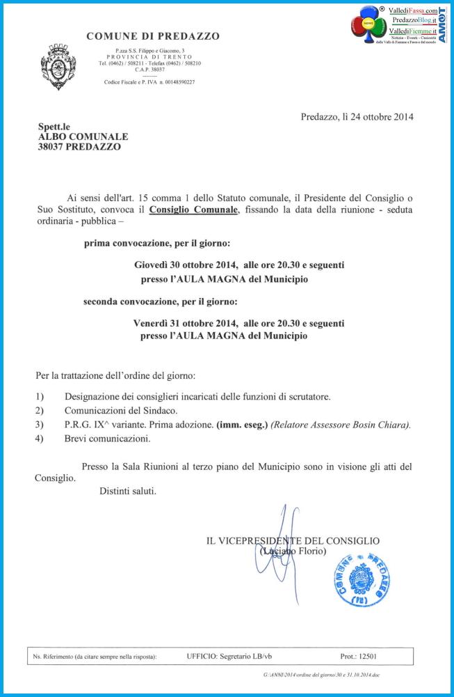 consiglio comunale predazzo ottobre 2014 Predazzo, Consiglio Comunale e PRG 4°variante