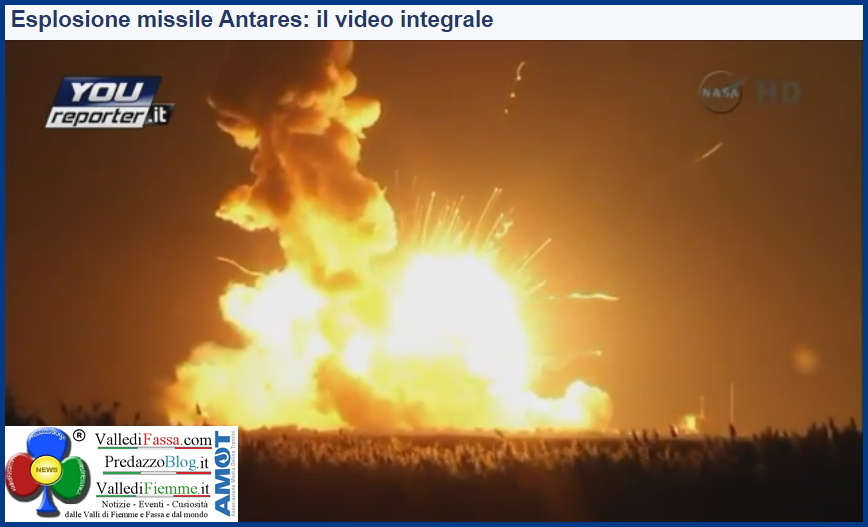 esplosione missile antares nasa video integrale Missione fallita, razzo Nasa esplode in volo   Video