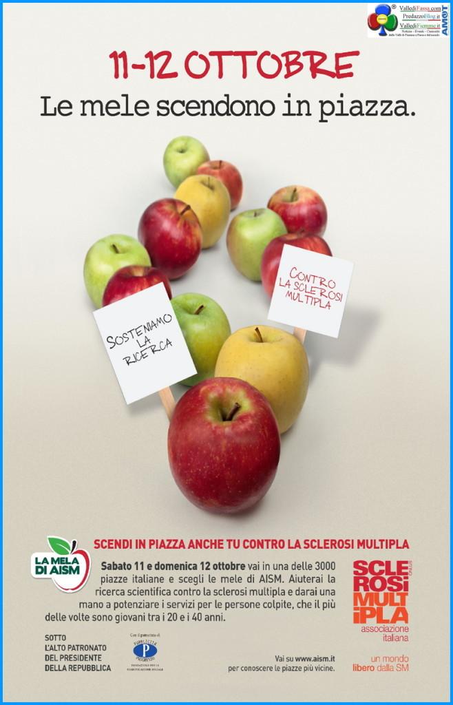 mele scendono in piazza aism 658x1024 Anche a Predazzo La Mela di AISM