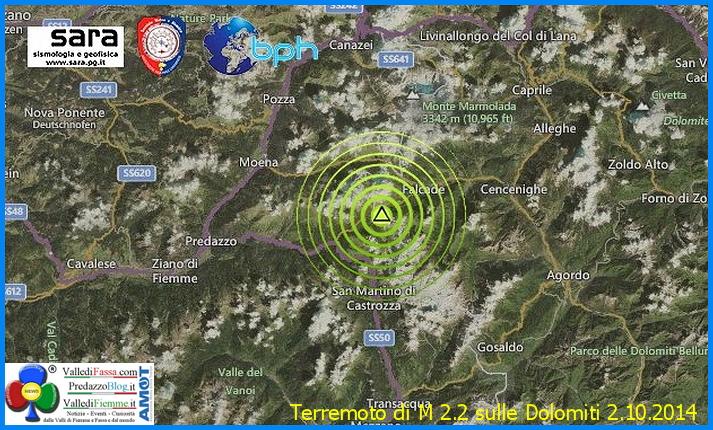terremoto dolomiti falcade moena Terremoto sulle Dolomiti, epicentro tra Falcade e Moena