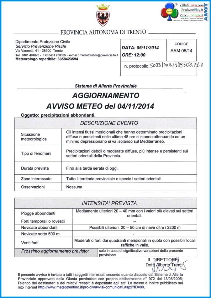 AVVISO METEO 2014 11 06 provincia di trento 724x1024 Diluvia in Fiemme e Fassa le Foto e i Video