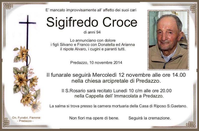 Croce Sigifredo Predazzo, necrologio Sigifredo Croce
