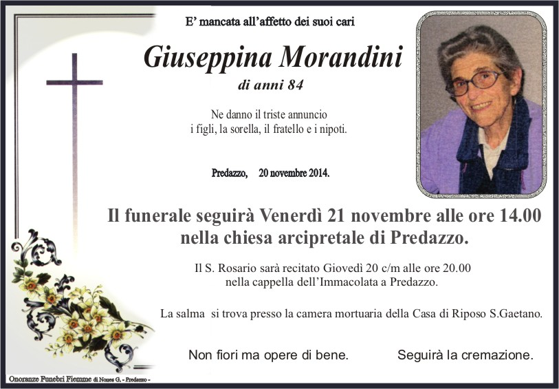Morandini Giuseppina Predazzo, necrologio Giuseppina Morandini