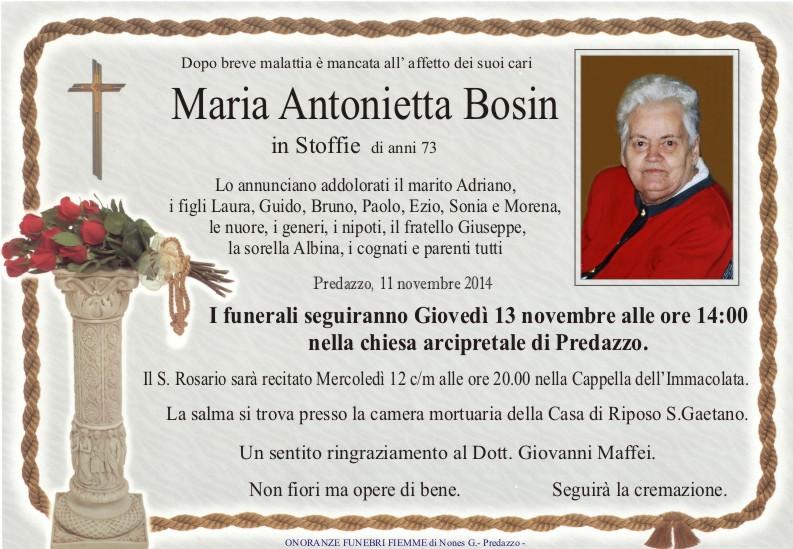 Necro Maria Bosin Necrologio, Maria Antonietta Bosin in Stoffie
