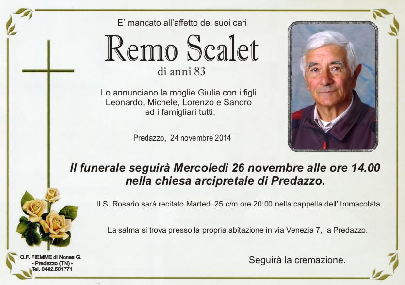 remo scalet Predazzo, necrologio Remo Scalet