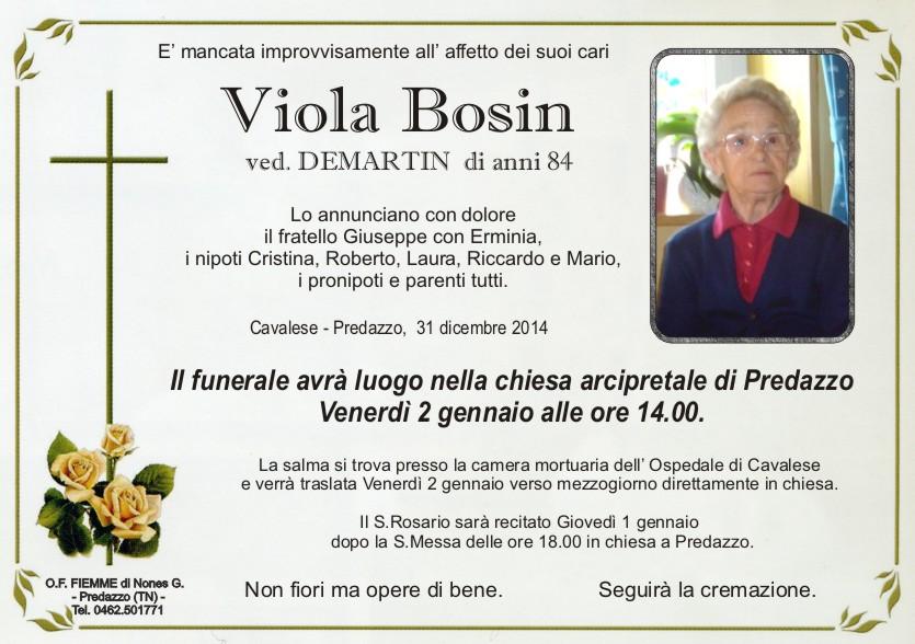 Bosin Viola Predazzo, necrologi Amalia Gabrielli e Bosin Viola