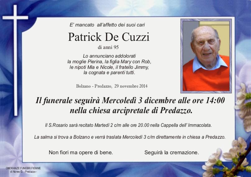 De Cuzzi Patrick Predazzo, necrologio Patrick De Cuzzi