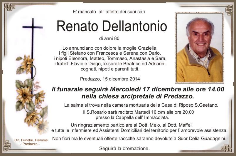 Dellantonio Renato Predazzo, necrologio Renato Dellantonio