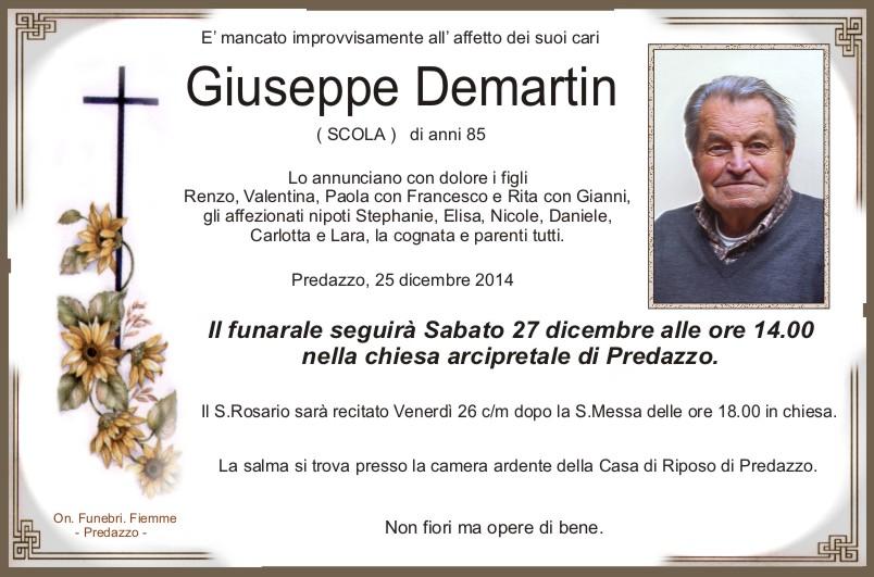 Demartin Giuseppe Necrologio, Demartin Giuseppe (scola)