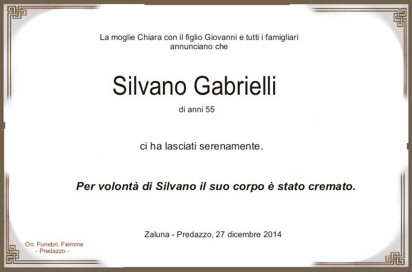Gabrielli Silvano Predazzo, necrologio Silvano Gabrielli