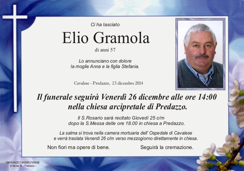Gramola Elio Predazzo, necrologio Elio Gramola