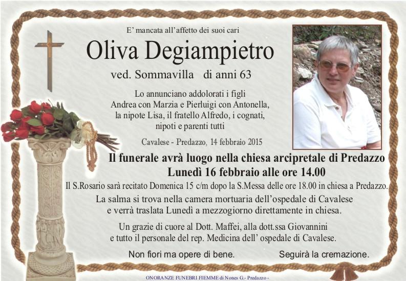 Degiampietro Oliva Predazzo, avvisi della Parrocchia 15/22 febbraio
