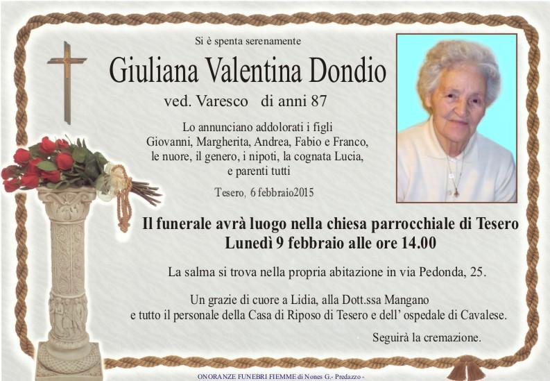 Dondio Giuliana Valentina Predazzo, avvisi della Parrocchia 8/15 2 e necrologi