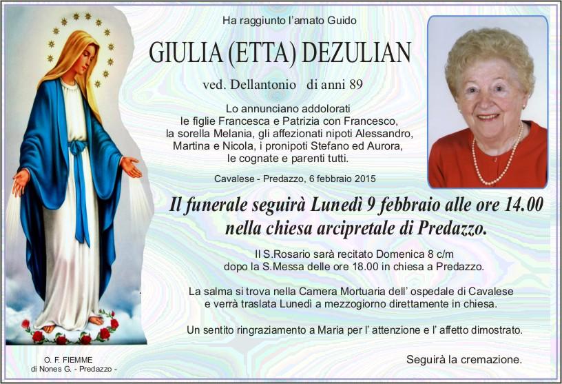 Giulia Dezulian Predazzo, avvisi della Parrocchia 8/15 2 e necrologi