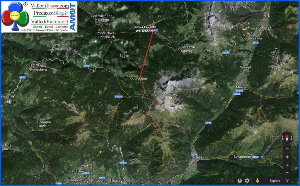 cartina fiemme obereggen nova levante carezza 1024x636 Si progetta il collegamento Nova Levante   Obereggen