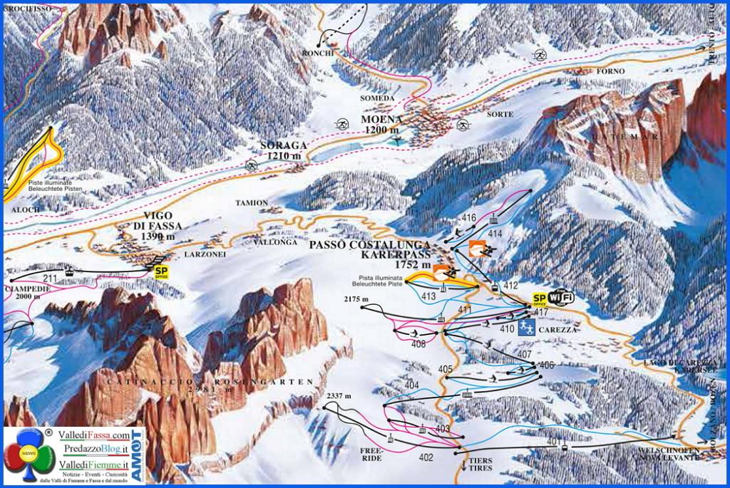 passo costalunga cartina sci 1024x685 Si progetta il collegamento Nova Levante   Obereggen