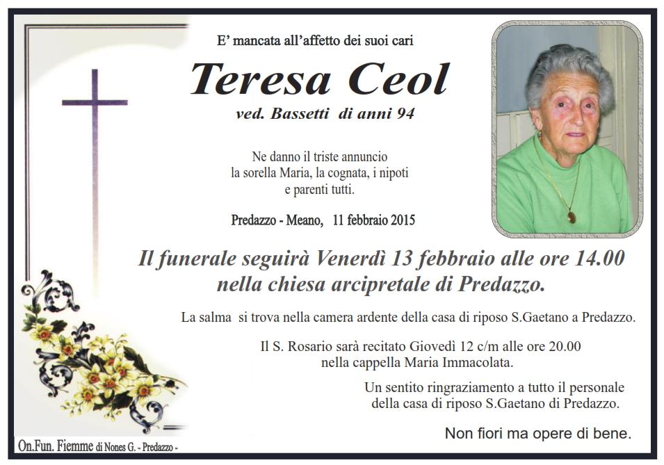 teresa ceol Predazzo, necrologi Maria Bosin e Teresa Ceol