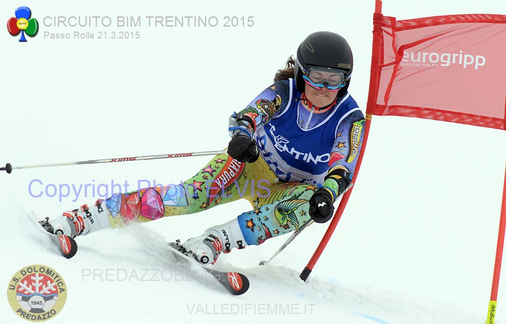 BONACCI CLAUDIA GS TRENTINI ROLLE 2015PHOTO ELVIS Rolle, Trofeo 70° US Dolomitica e Campionato TN Slalom Classifiche e Foto