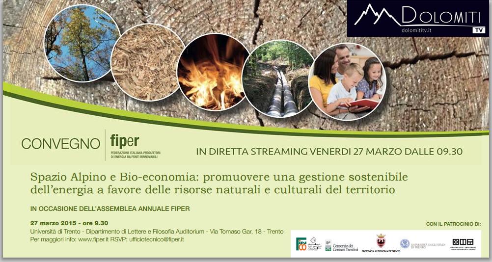convegno fiper dolomiti tv  Convegno Spazio Alpino e bio economia. Da Trento la diretta live TV