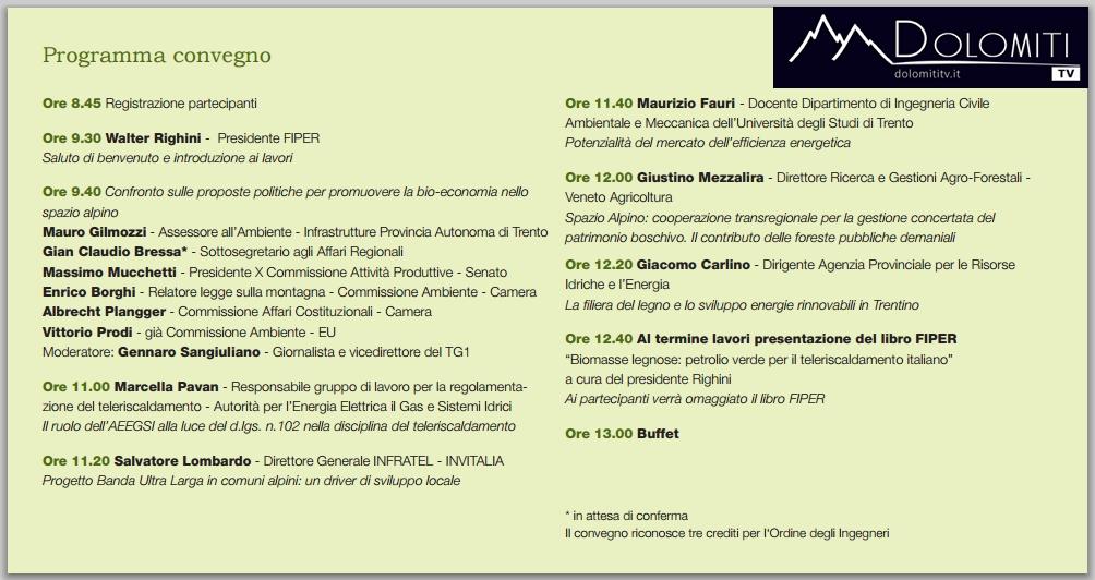 convegno fiper trento programma  Convegno Spazio Alpino e bio economia. Da Trento la diretta live TV