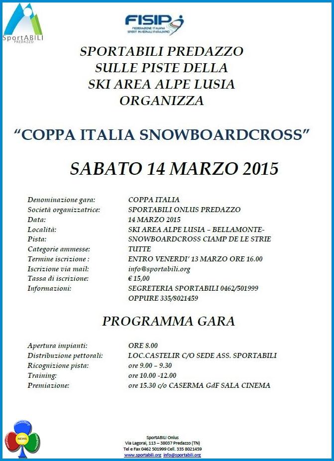 sportabili coppa italia a predazzo 2015 Bellamonte, 12° Coppa Italia Parasnowboard Cross