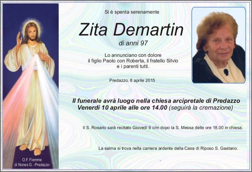 Demartin Zita Necrologio, Zita Demartin