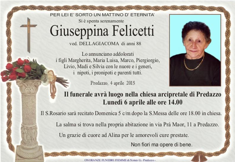 Felicetti Giuseppina Predazzo, necrologio Giuseppina Felicetti e avvisi parrocchiali