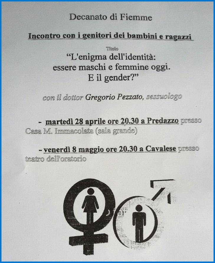 gender locandina fiemme Predazzo, avvisi Parrocchiali   Incontri sullideologia gender