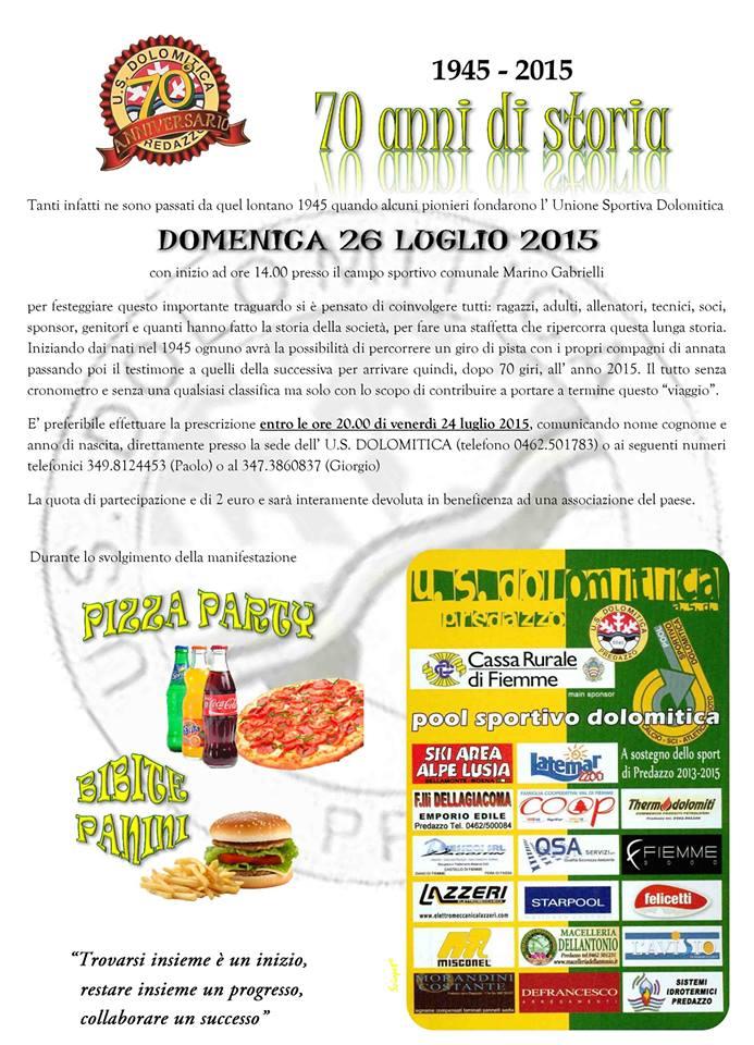 dolomitica 70 anni predazzo 70° fondazione U.S. Dolomitica Predazzo con Staffetta e Corsa Notturna