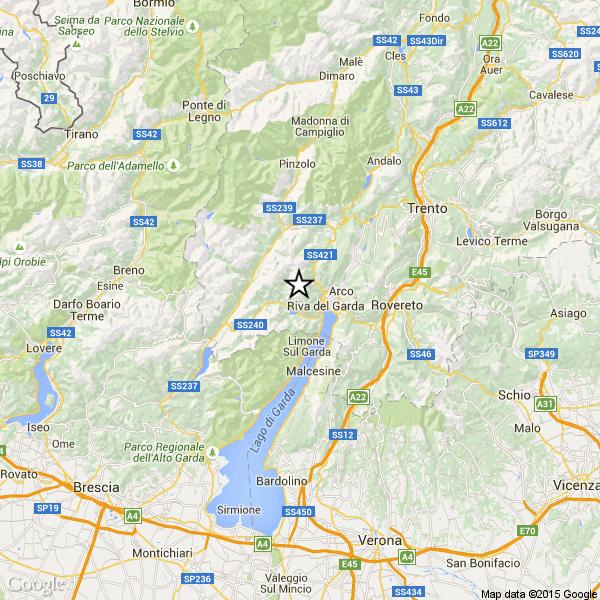 cartina terremoto trentino 1 agosto 2015 Terremoto in Trentino magnitudo 3.7