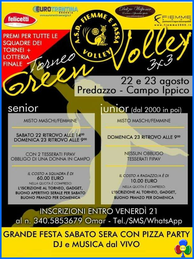 green volley predazzo Torneo Green Volley 3×3 a Predazzo