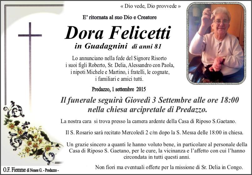 Felicetti Dora Necrologio, Dora Felicetti in Guadagnini
