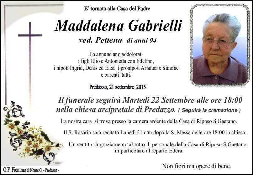 Gabrielli Maddalena Necrologio, Maddalena Gabrielli  ved. Pettena