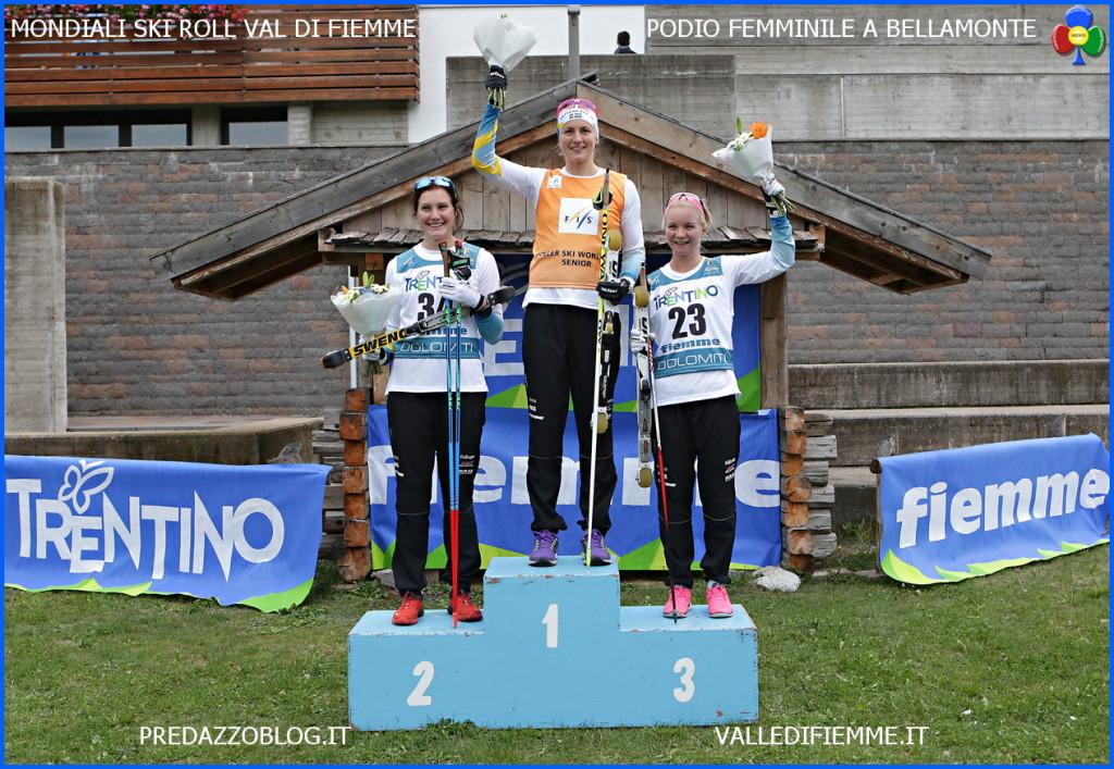 podio femminile mondiali skiroll fiemme 2015 1024x707 Mondiali Skiroll Zelger e Rastelli nellolimpo di Fiemme
