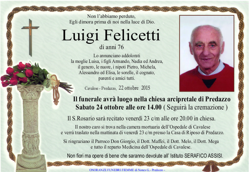 Felicetti Luigi Necrologi, Luigia Giongo e Bruno Dallabona