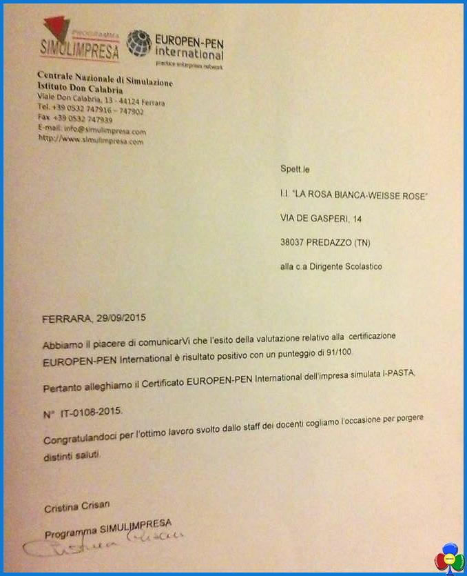 i pasta predazzo 2015 I PASTA ottiene la certificazione European pen
