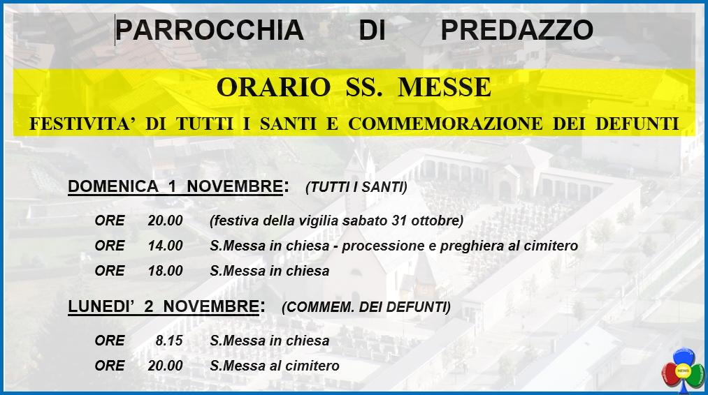 orari messe santi e defunti Avvisi della Parrocchia 25.10/1.11