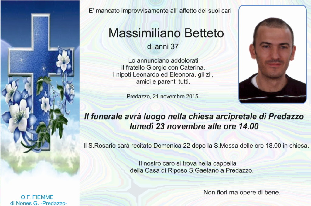 Betteto Massimiliano1 1024x678 Necrologio, Massimiliano Betteto