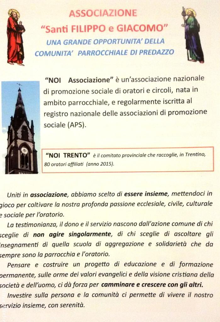 associazione noi predazzo 699x1024 Avvisi Parrocchiali 22/29 novembre