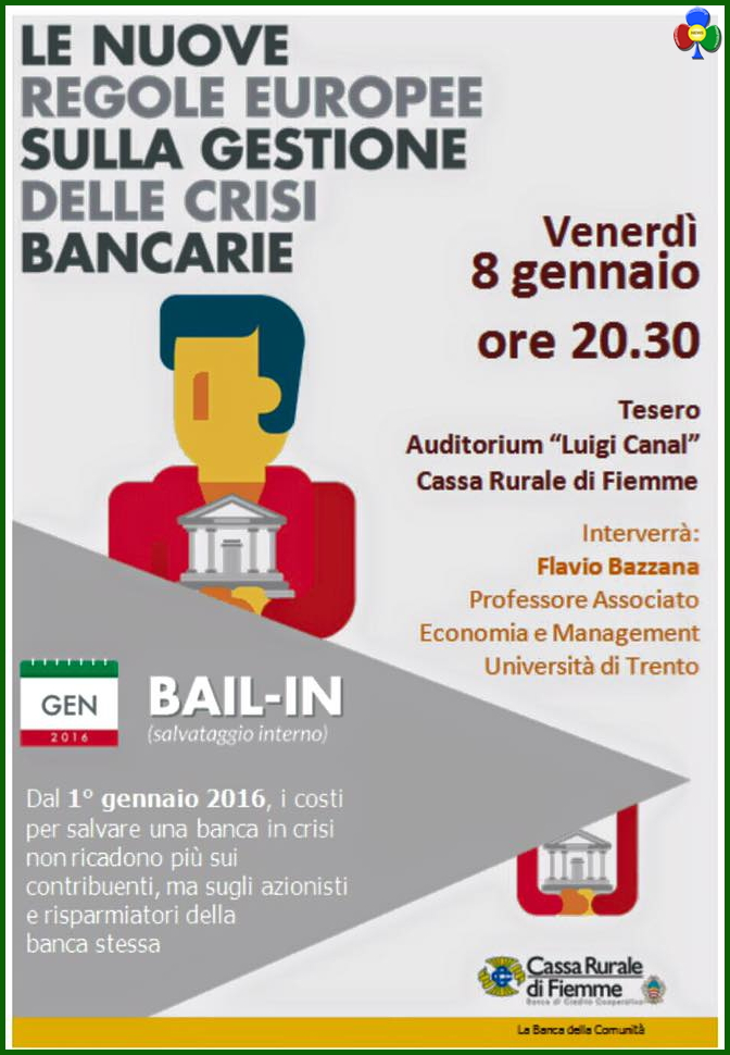 bail in banche Bail in, serata informativa della Cassa Rurale di Fiemme