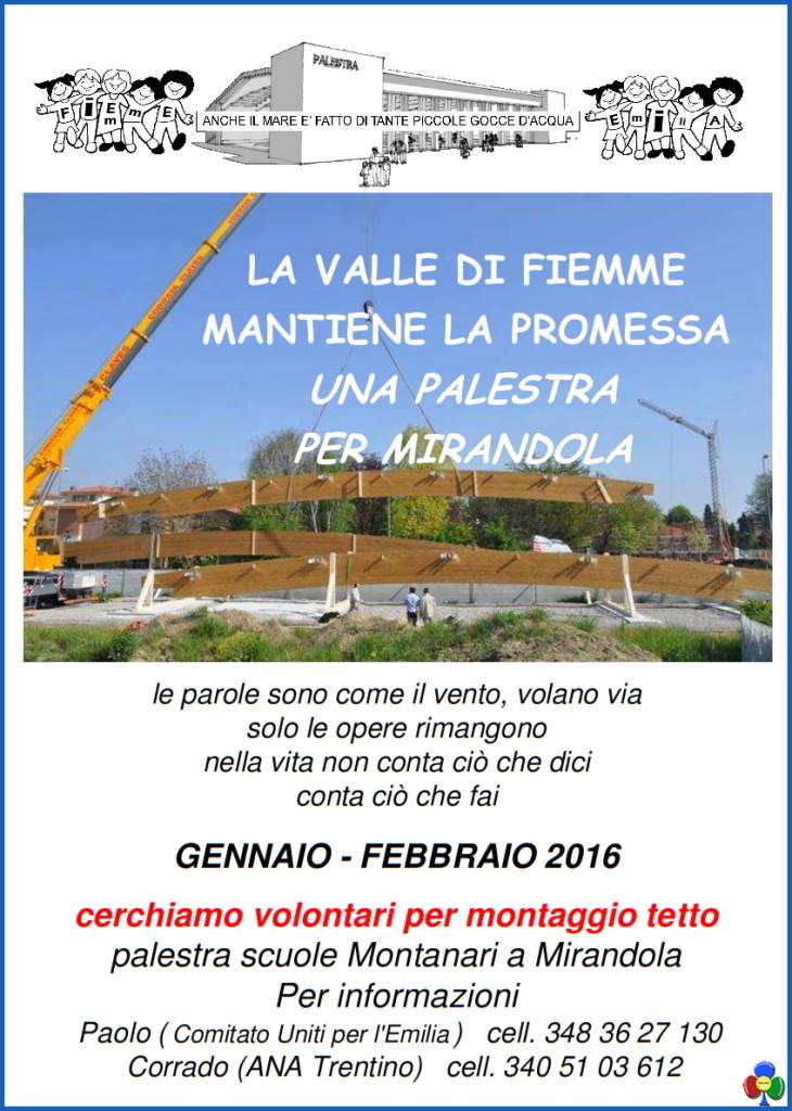 tutti sul tetto per lemilia 730x1024 I volontari di Fiemme a Mirandola per montare il tetto della palestra