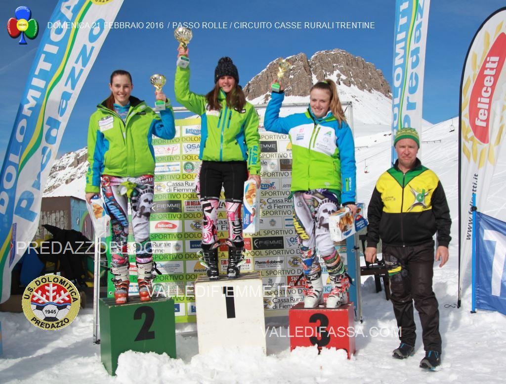 DOMENICA 21 FEBBRAIO 2016 PASSO ROLLE CIRCUITO CASSE RURALI TRENTINE1 Slalom al Rolle per il Circuito Casse Rurali Trentine   Classifiche