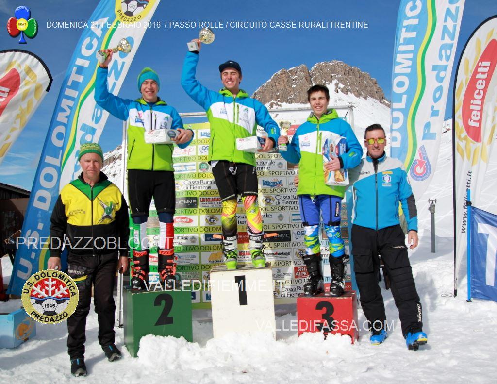DOMENICA 21 FEBBRAIO 2016 PASSO ROLLE CIRCUITO CASSE RURALI TRENTINE2 Slalom al Rolle per il Circuito Casse Rurali Trentine   Classifiche