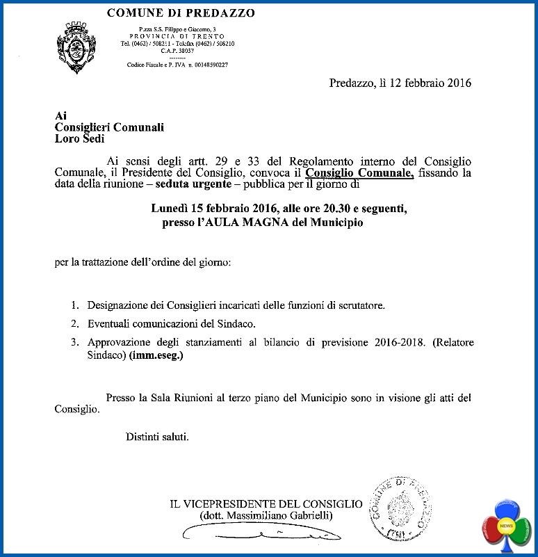 consiglio comunale predazzo 15.2.16 Consiglio Comunale e incontri con Michele Dallapiccola